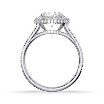 3d rendering diamond ring front view