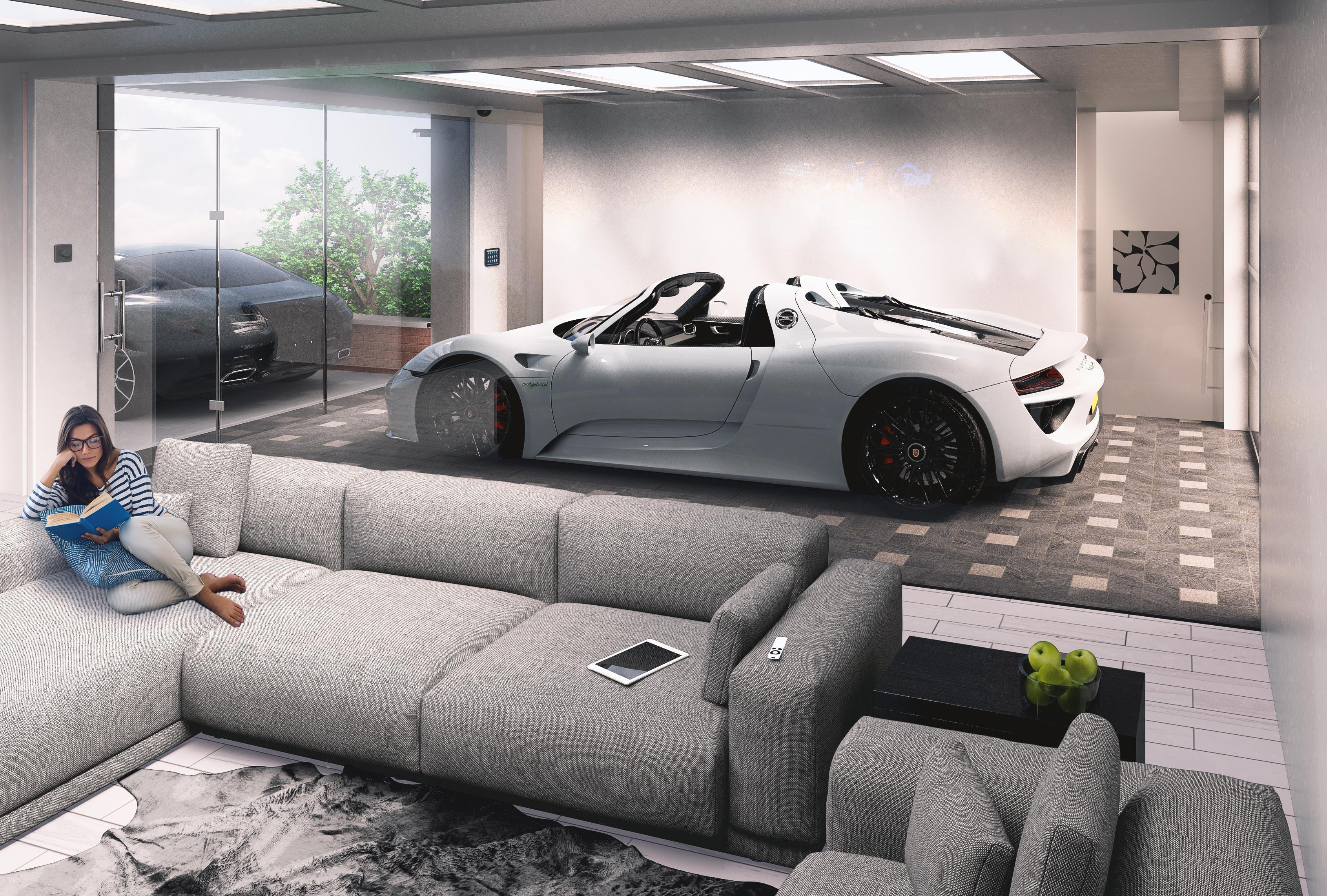 3d Rendering of a Flat Garage