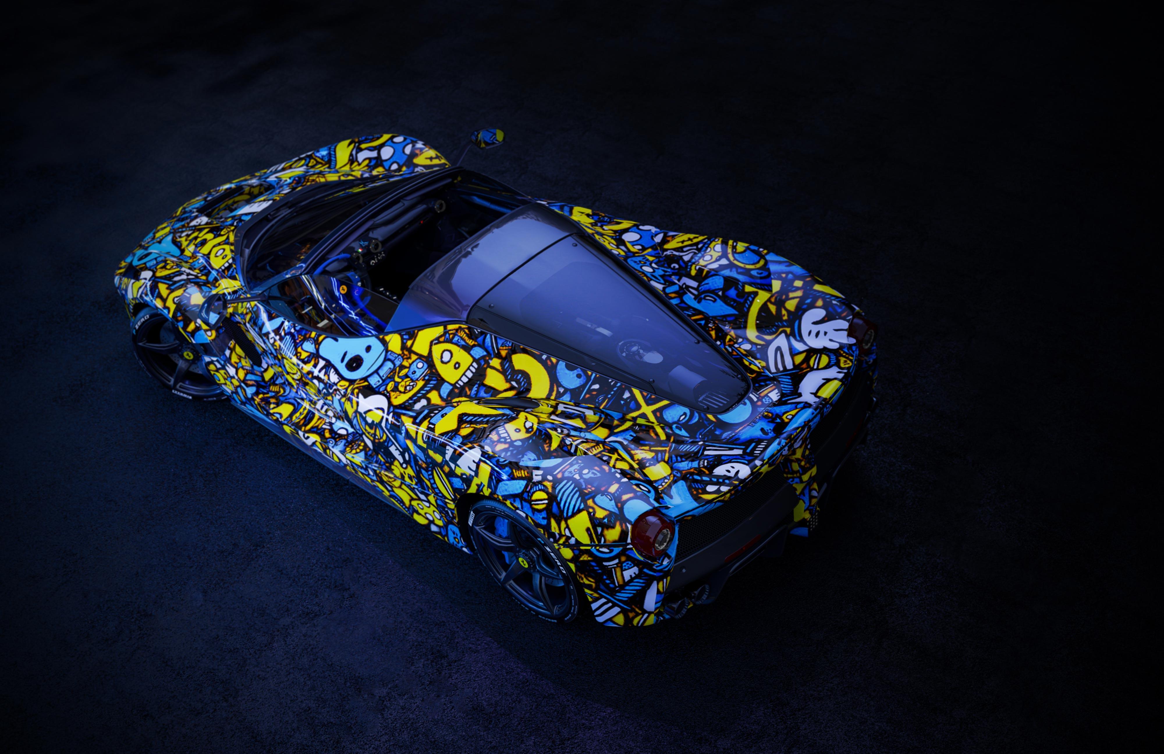 3D Rendering of a Graffiti Ferrari LaFerrari