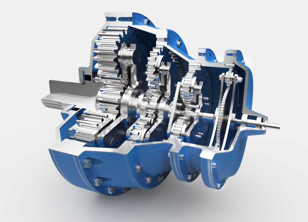 Gear Box Exploded Rendering