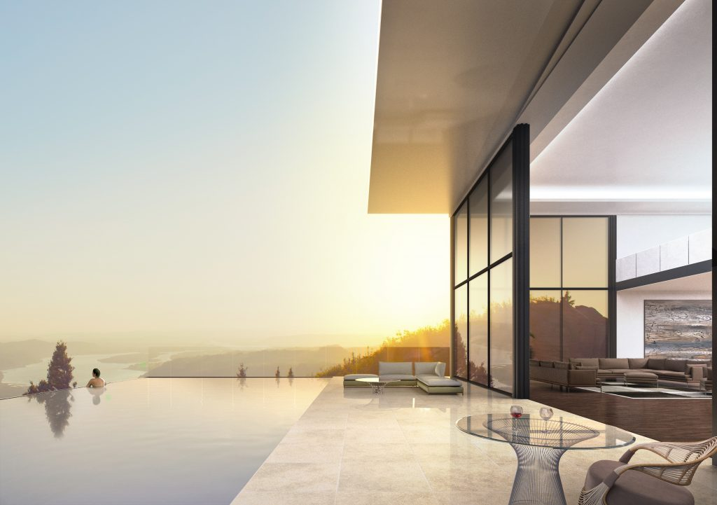 Penthouse Architectural Render exterior mountain top