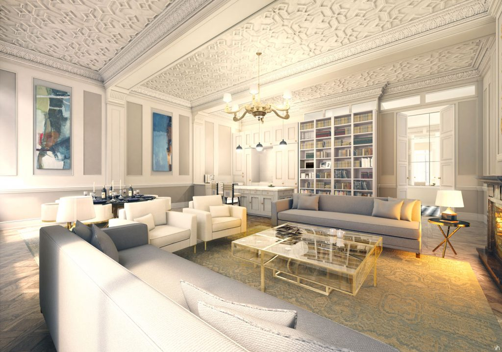 Interior rendering of a flat