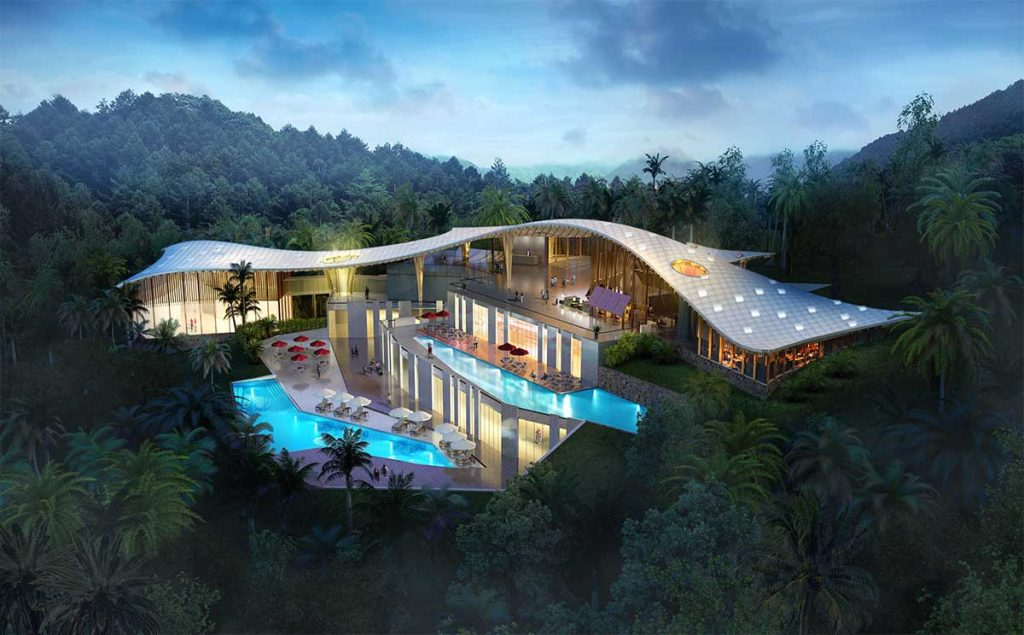 Mountaintop hotel concept 3D architectural rendering