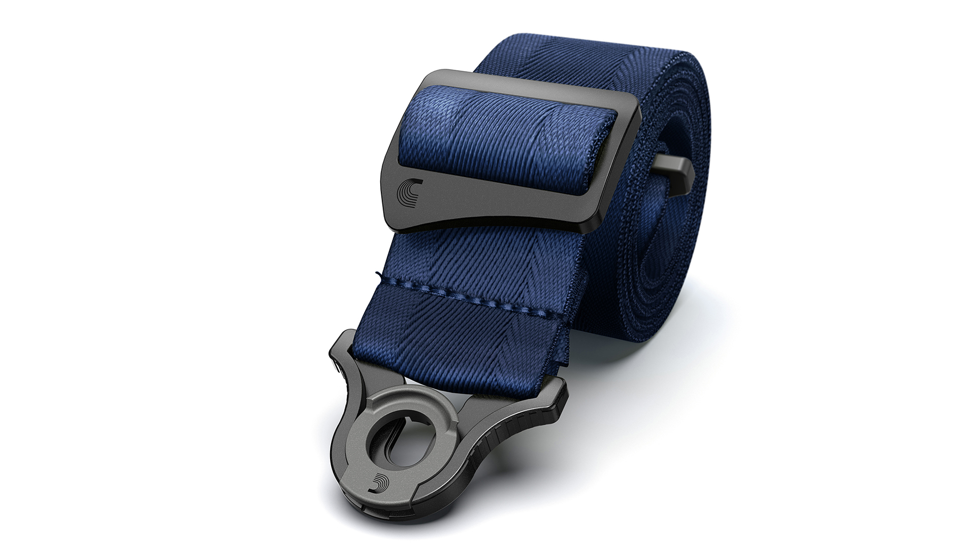 D'Addario Guitar Strap Lock Blue Rolled Product Render