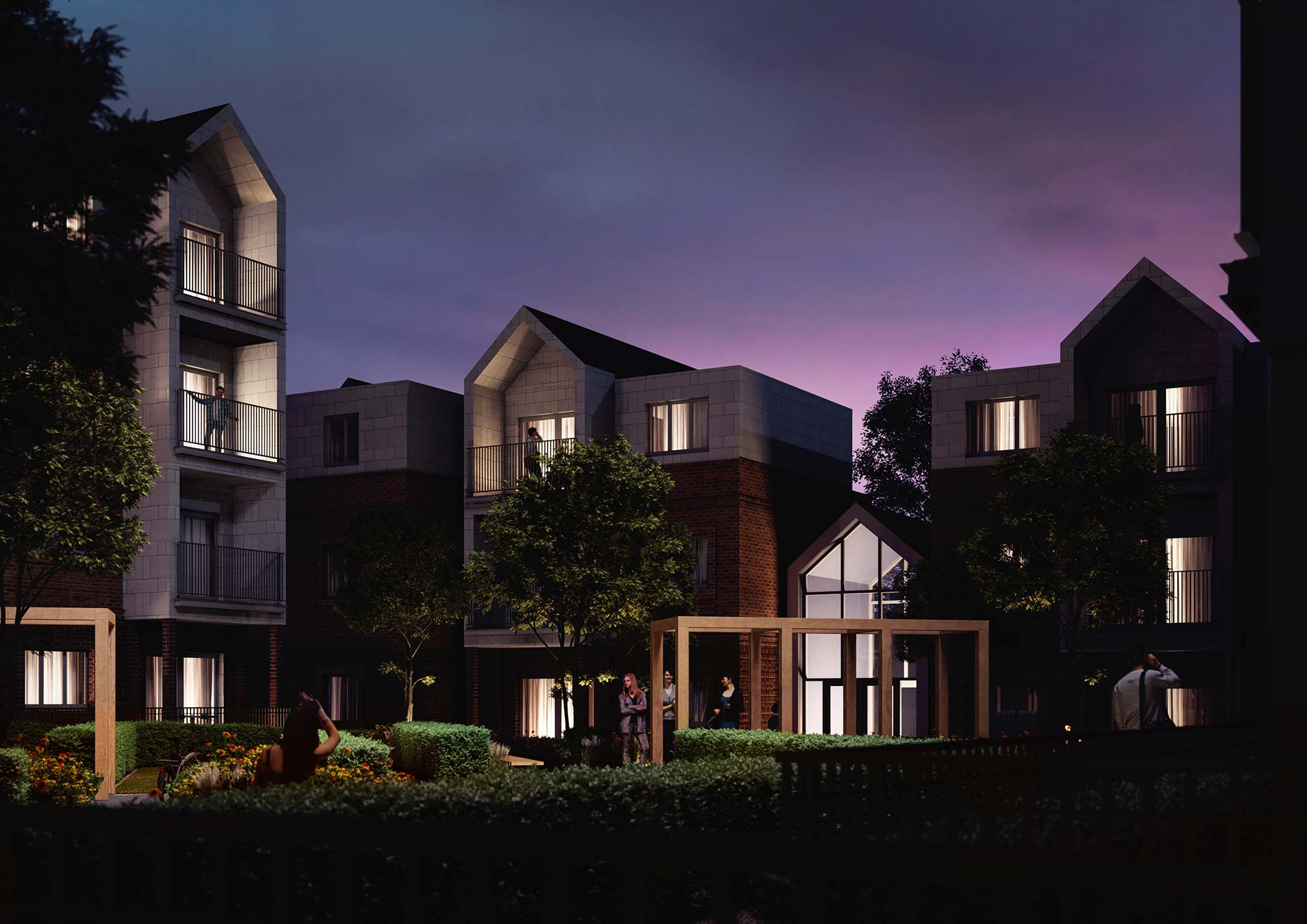 Night Architectural Render of Flats
